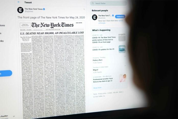 New York Times maakt voorpagina met namen van honderden coronaslachtoffers