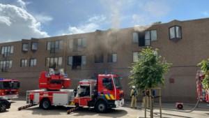 Brandweer evacueert bewoner met ladderwagen uit appartement