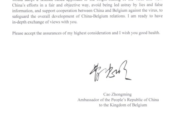 Chinese ambassadeur stuurt boze brief naar Francken die onderzoek naar coronavirus eist