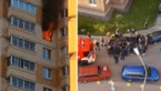 Heldhaftige buren duwen auto opzij zodat brandweer zware brand in appartement kan blussen