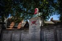 Standbeeld Leopold II beklad met rode verf