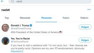 """Trump is eerste resultaat bij zoekterm """"racist"""" op Twitter"""