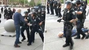 Agenten geschorst nadat ze 75-jarige man hard tegen de grond duwen tijdens betoging