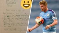 """7-jarige fan schrijft briefje aan Kevin De Bruyne: """"Je bent geweldig. En ik wil je ook zeggen dat je cool haar hebt"""""""