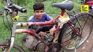 Tiener bouwt fiets om tot bromfiets met enkel wat schroot en afval