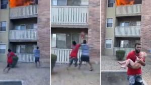 Wat een held: man vangt nog net jongetje (3) op dat uit brandend appartement wordt gegooid