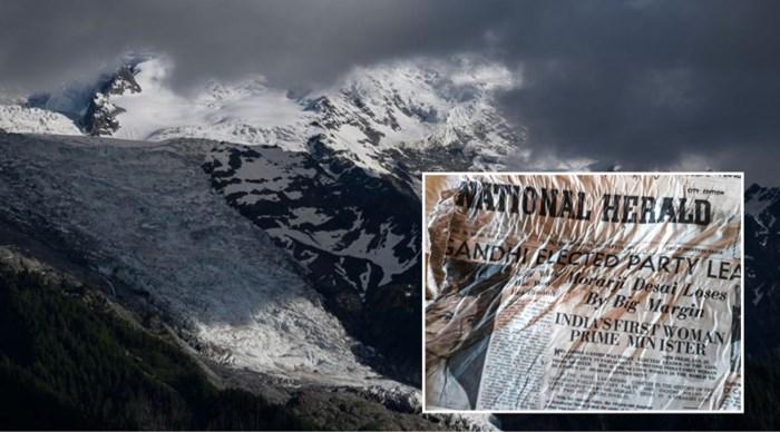 Gletsjer van Mont Blanc smelt en legt kranten uit gecrasht vliegtuig uit 1966 bloot