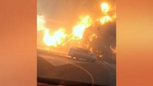 Een 'normale' brand bij een tankstation explodeert plots in gigantische vuurbal