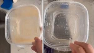 Nooit meer tomatensausvlekken: vrouw deelt trucje om ieder plastic potje proper te krijgen