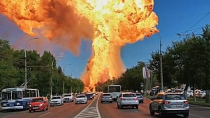 Enorme vuurbal door explosie in tankstation