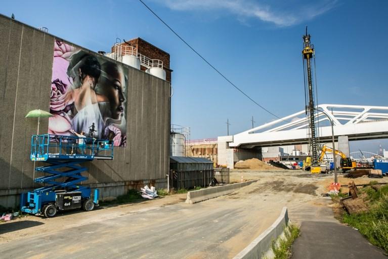 Indrukwekkend graffitikunstwerk voor Julie Van Espen aan Antwerpse Vaartkaai