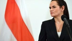 Wit-Russische oppositieleider Svetlana Tichanovskaja maandag in Brussel