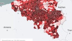 KAART. Zowat het hele land kleurt bloedrood: bekijk hier hoe zwaar corona toeslaat in uw gemeente