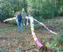 In de ban van mysterieuze kunstboom: jong gezin beschildert dode boom in bos