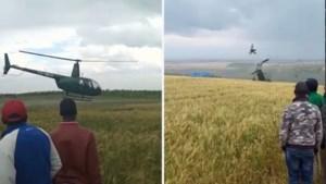 Omstaanders zien hoe het helemaal misloopt wanneer helikopter opstijgt