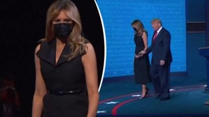 Melania 'rukt' hand weg van Trump na debat en Twitter ontploft