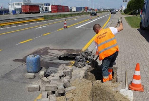Waterlek veroorzaakt wegverzakking N177 in Aartselaar