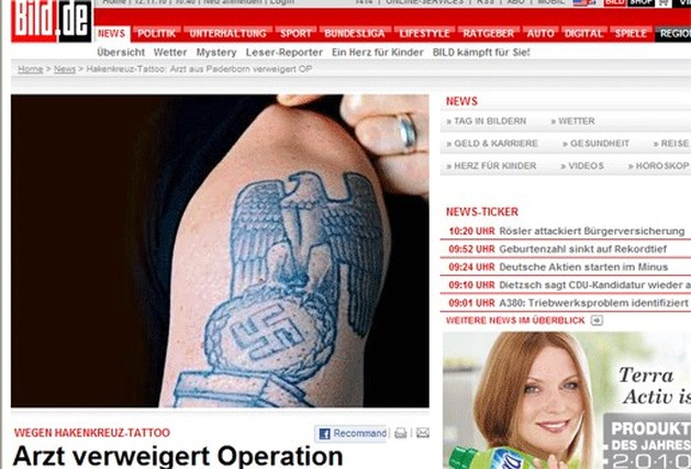 Joodse arts weigert tatoeage met hakenkruis te verwijderen