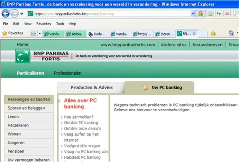 pc banking bnp paribas fortis s'identifier