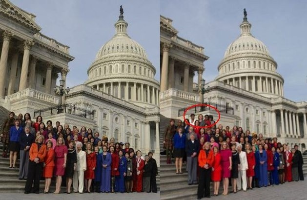 Democraten photoshoppen groepsfoto rond Pelosi