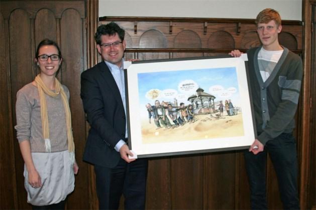 Cartoonist Dries Peeten bedankt gemeente