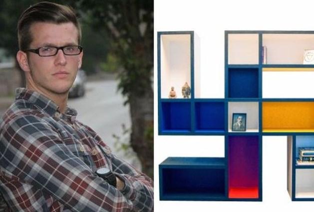 Student ontwerpt boekenkast in vorm van hakenkruis